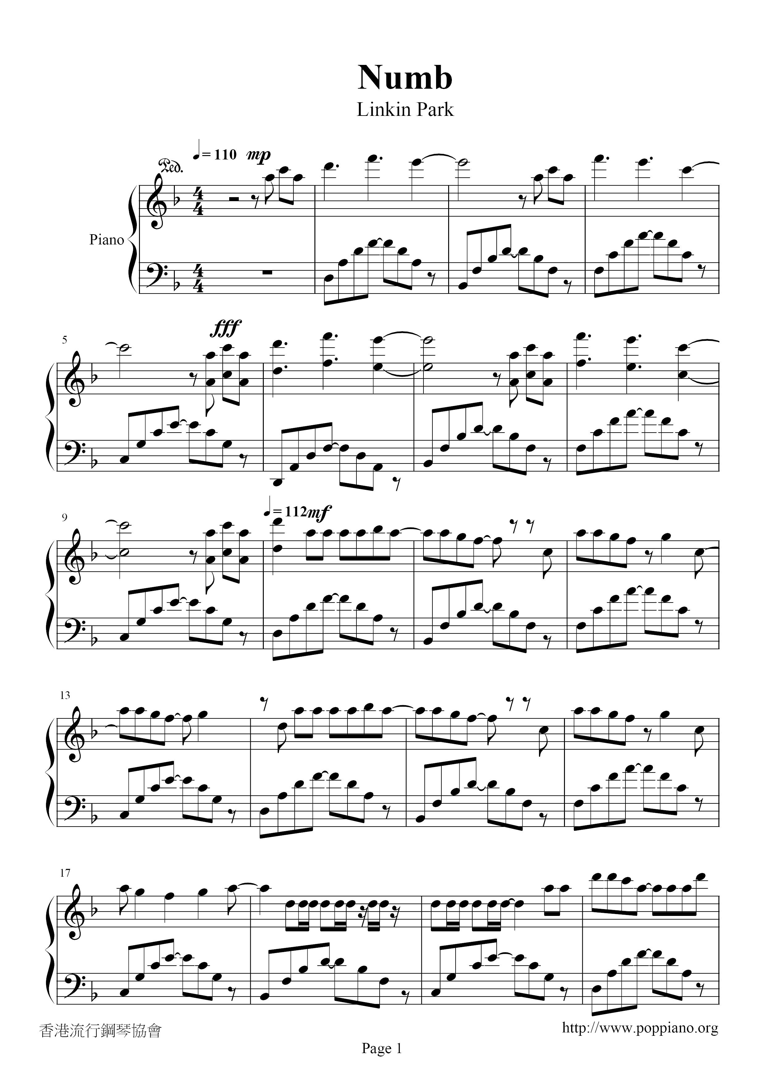 ☆ Linkin Park - Numb琴譜/五線譜ove,pdf - 香港流行鋼琴協會琴