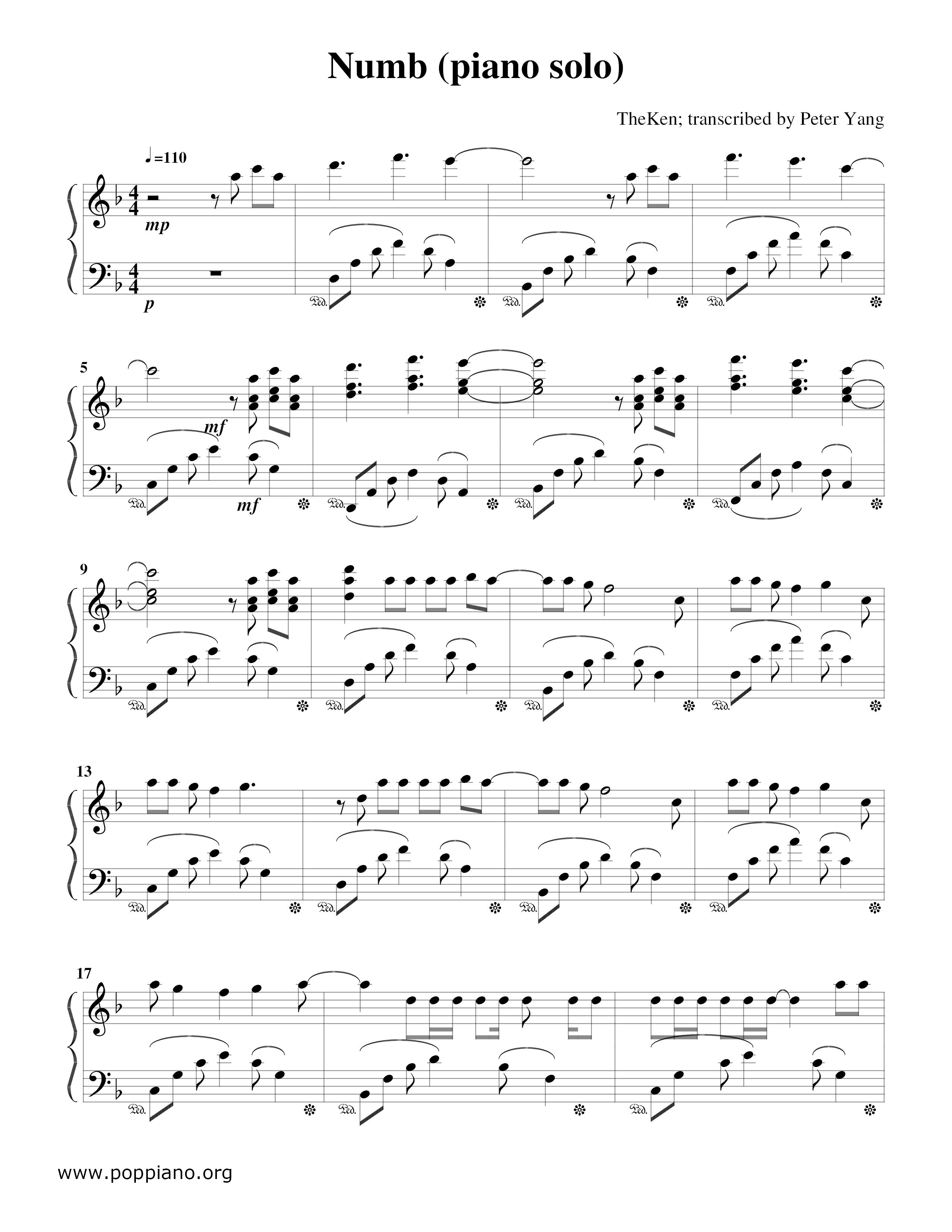 ☆ Linkin Park - Numb琴譜/五線譜pdf - 香港流行鋼琴協會琴譜下載☆