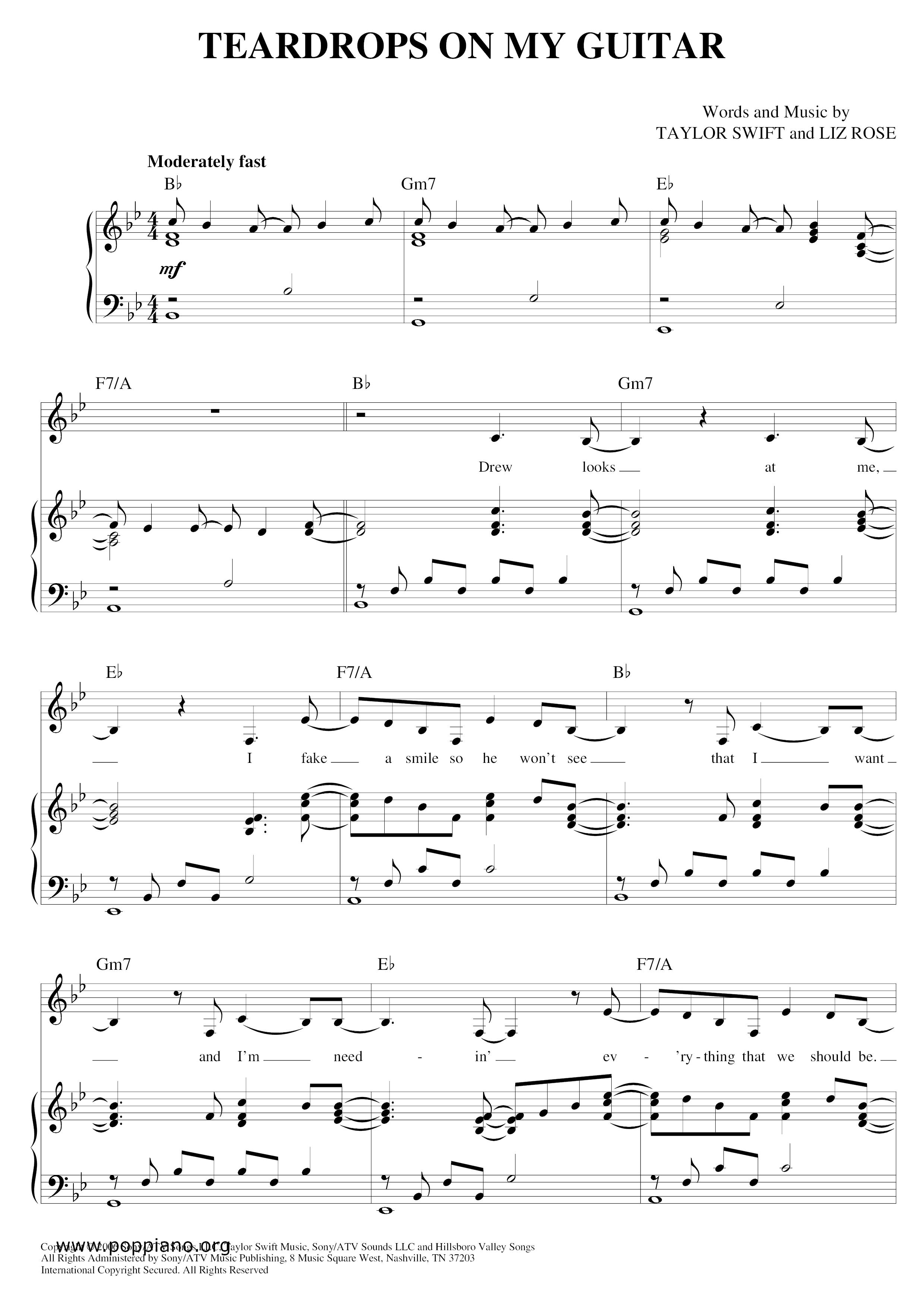 Taylor Swift Teardrops On My Guitar Sheet Music Pdf Free Score Download