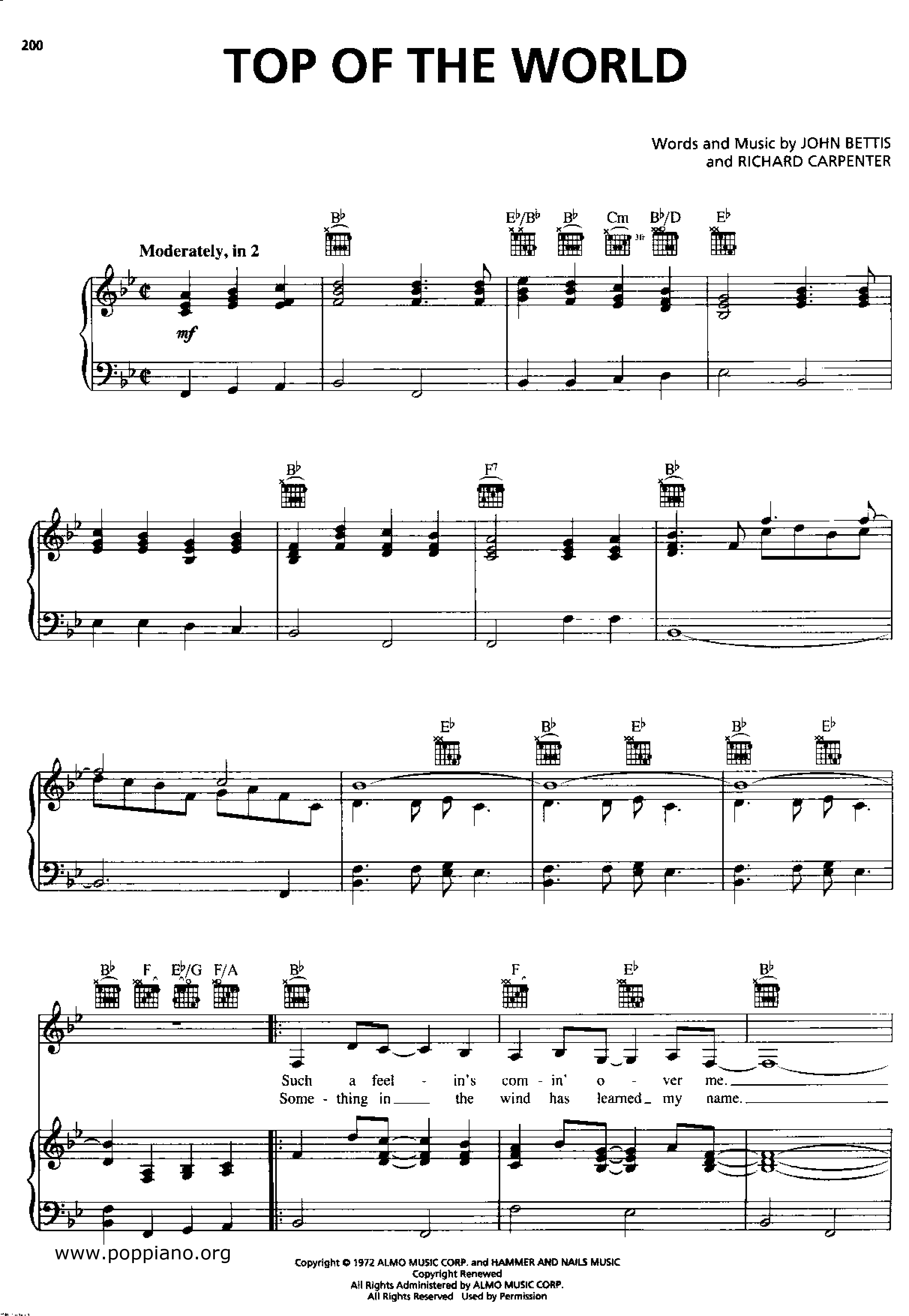 top of the world music sheet free