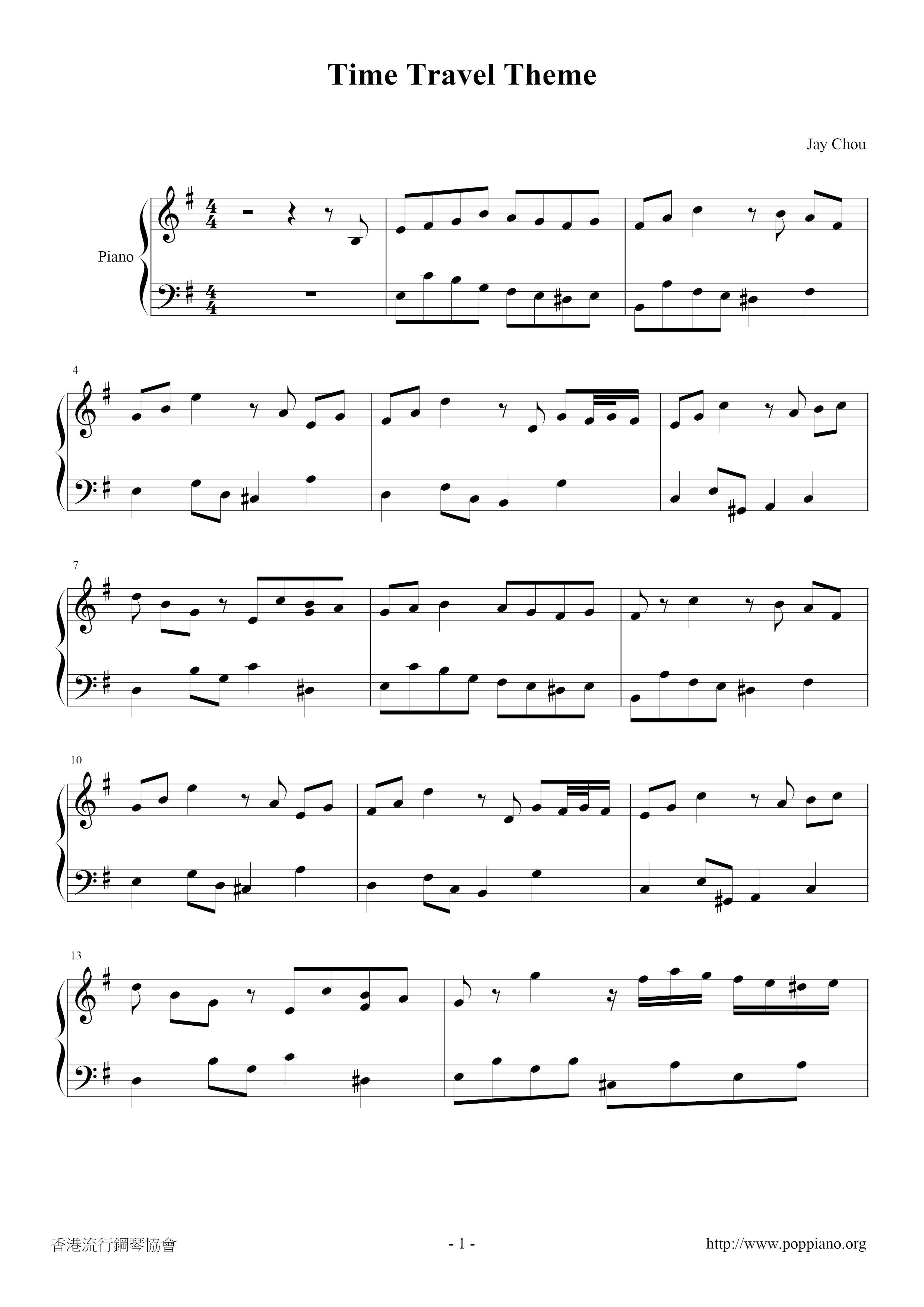 Jay Chou-Time Travel Theme Sheet Music pdf, - Free Score ...