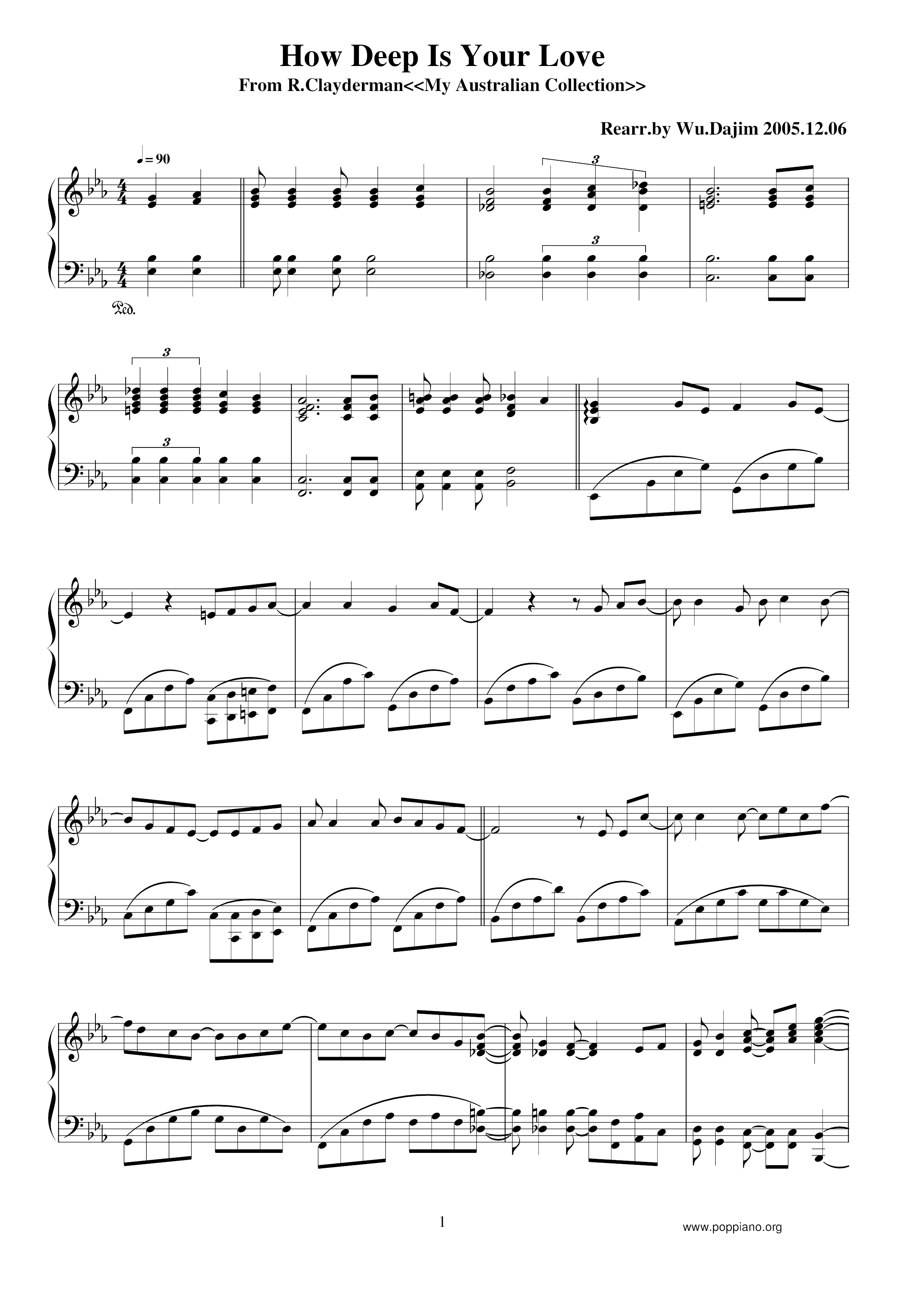 Richard Clayderman How Deep Is Your Love Sheet Music Pdf Free Score Download