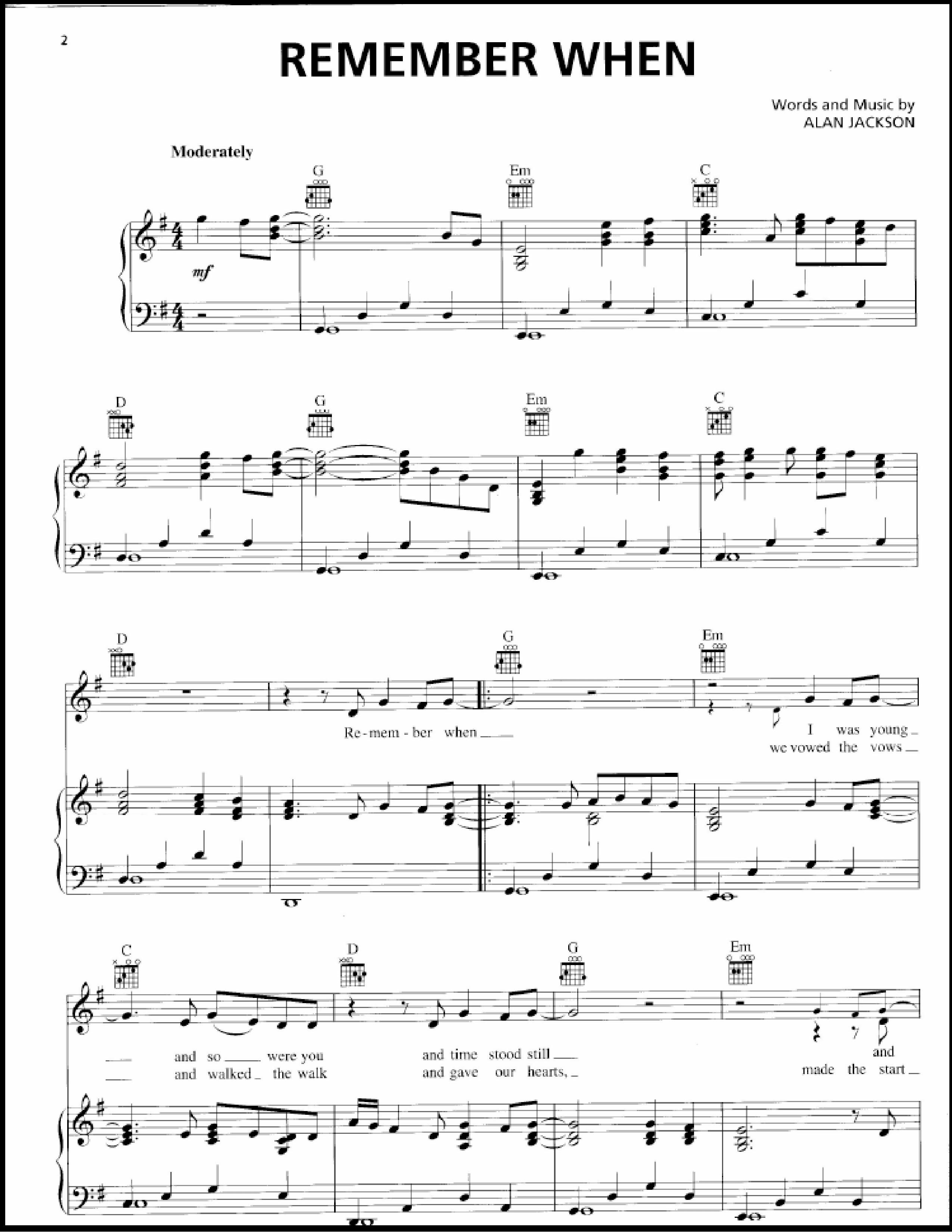 Alan Jackson Remember When Sheet Music Pdf Free Score Download