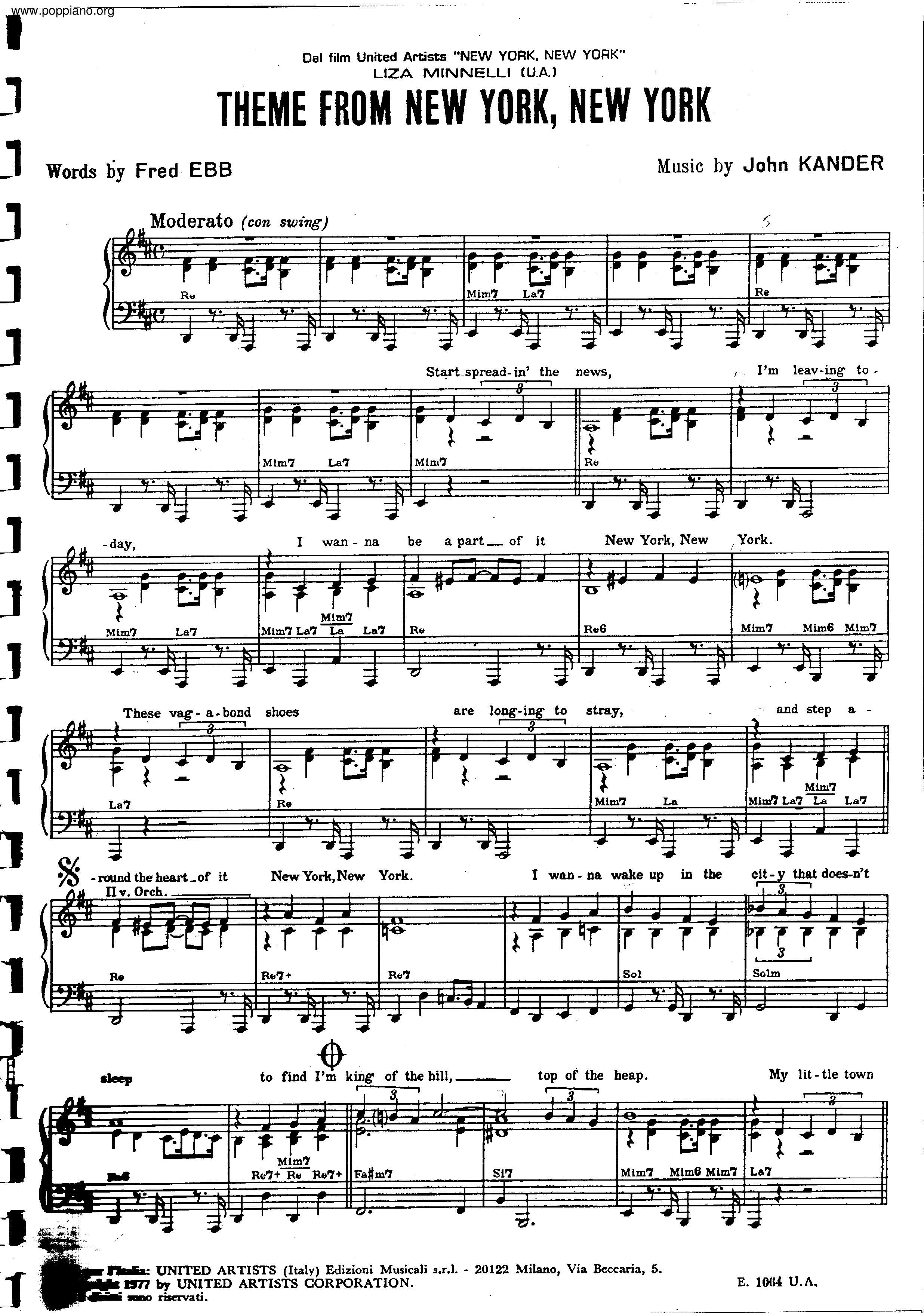 frank sinatranew york new york sheet music pdf  free