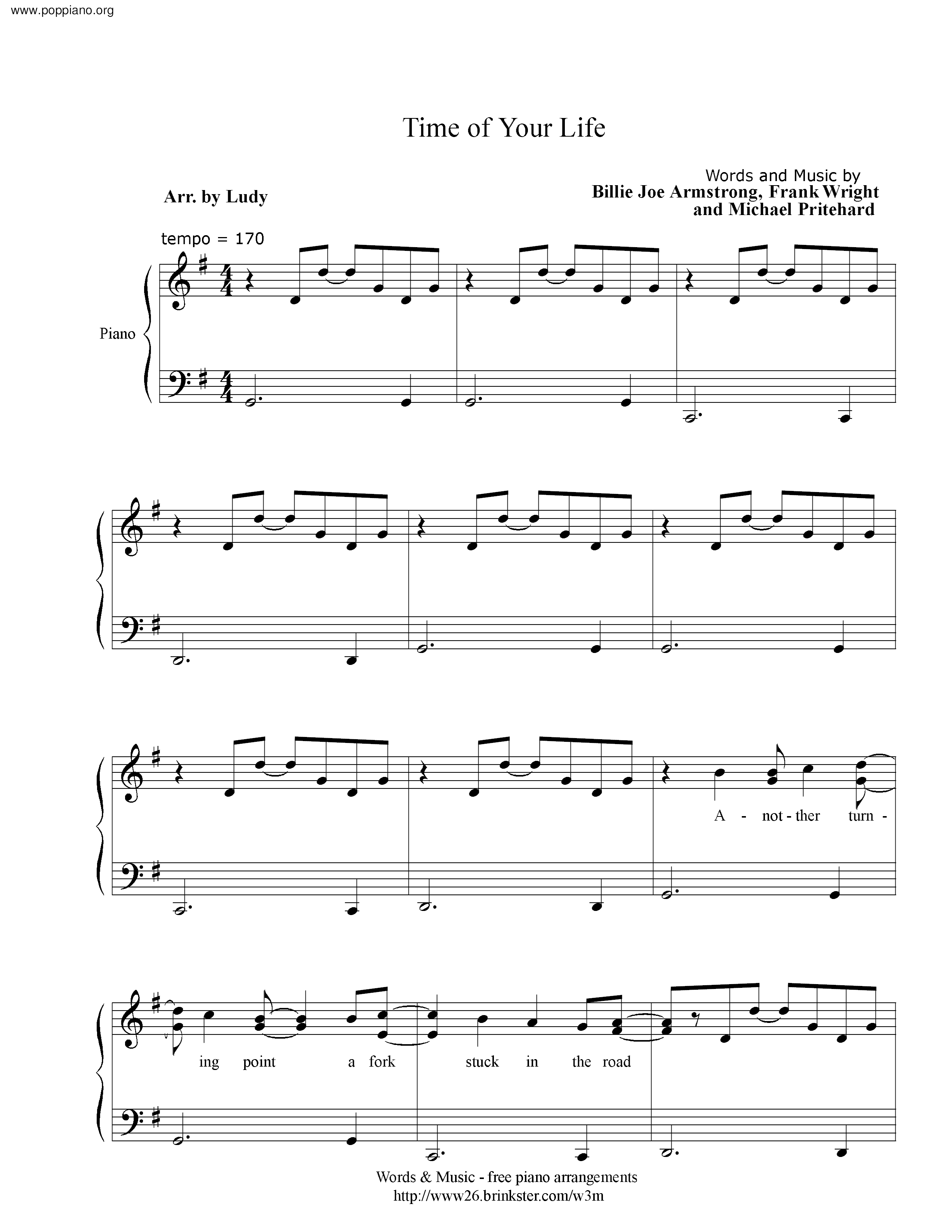 time of your life sheet music free