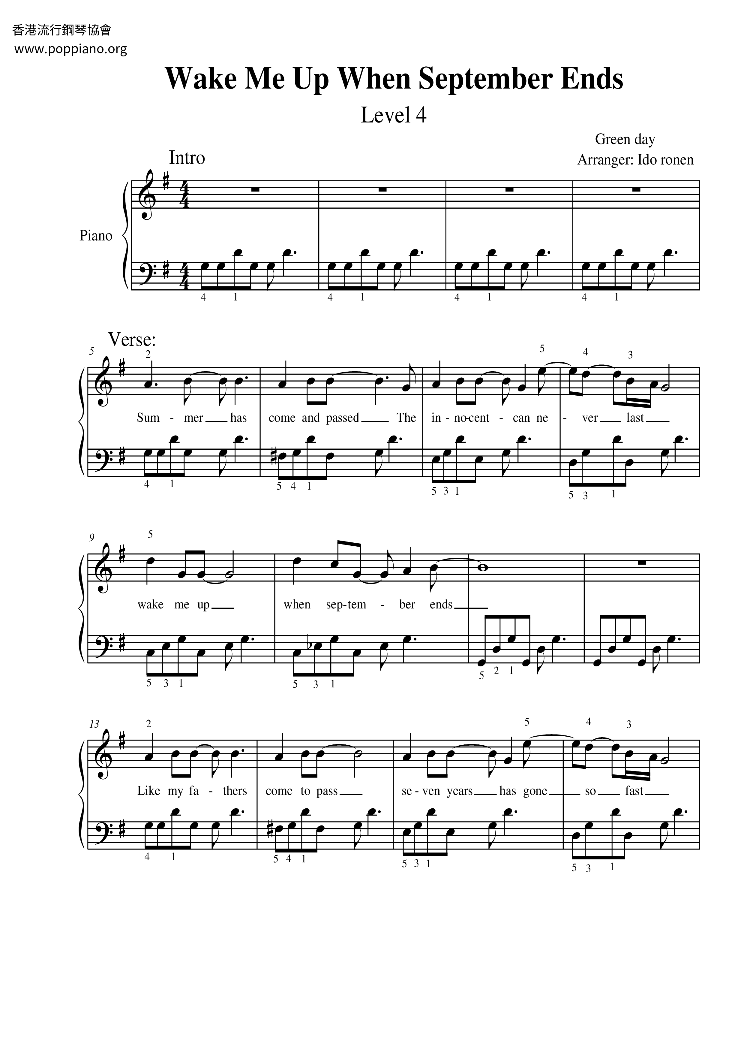 Wake Me Up When September Ends Sheet Music Piano Score Free Pdf Download Hk Pop Piano Academy