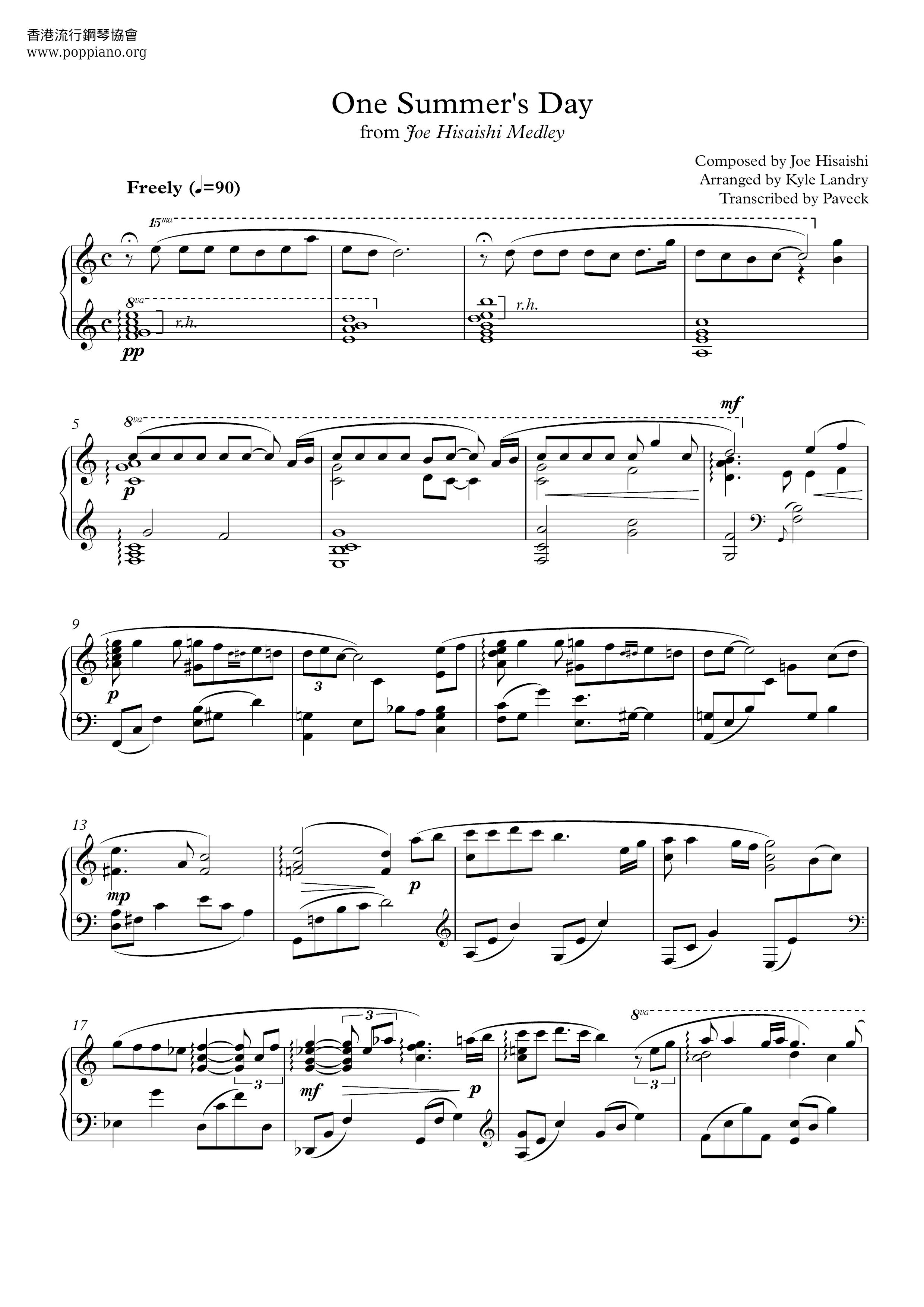 Joe Hisaishi Spirited Away One Summer S Day Sheet Music Pdf あの夏へ 악보 楽譜 ひさいしじょう Free Score Download