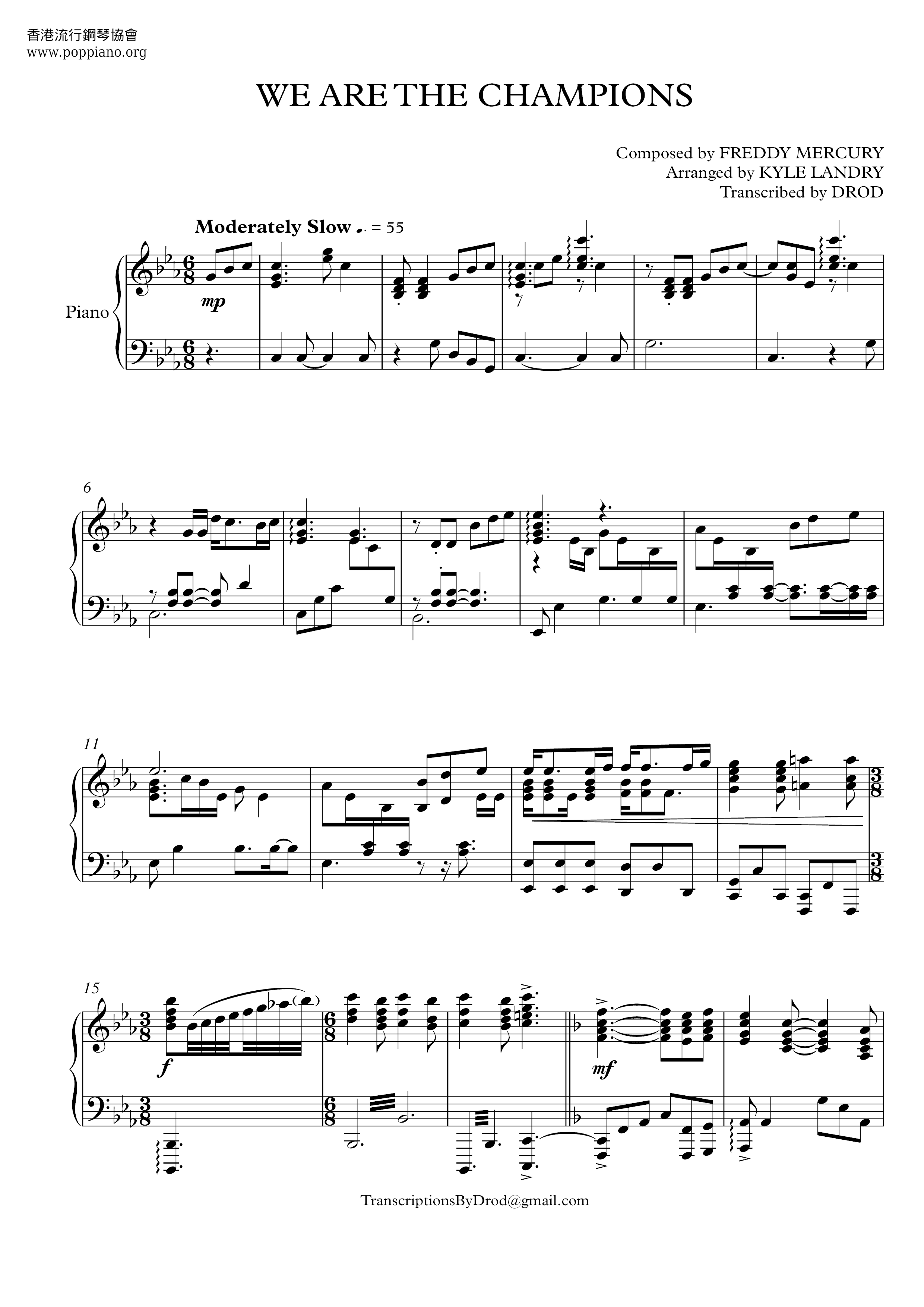 ☆ queen-we are the champions sheet music pdf, (クイーン) - free score download ☆  www.poppiano.org