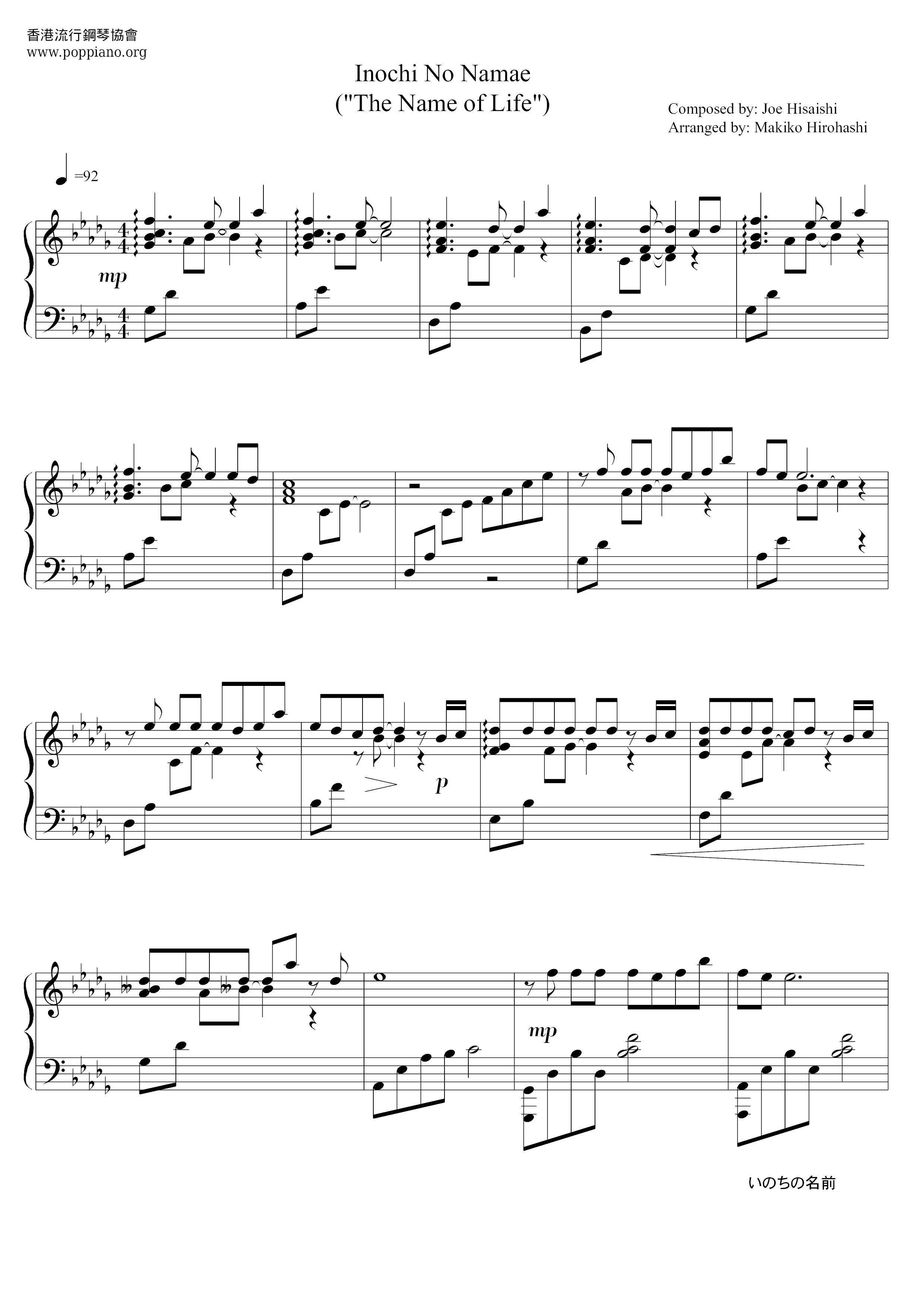名前 楽譜 の いのち