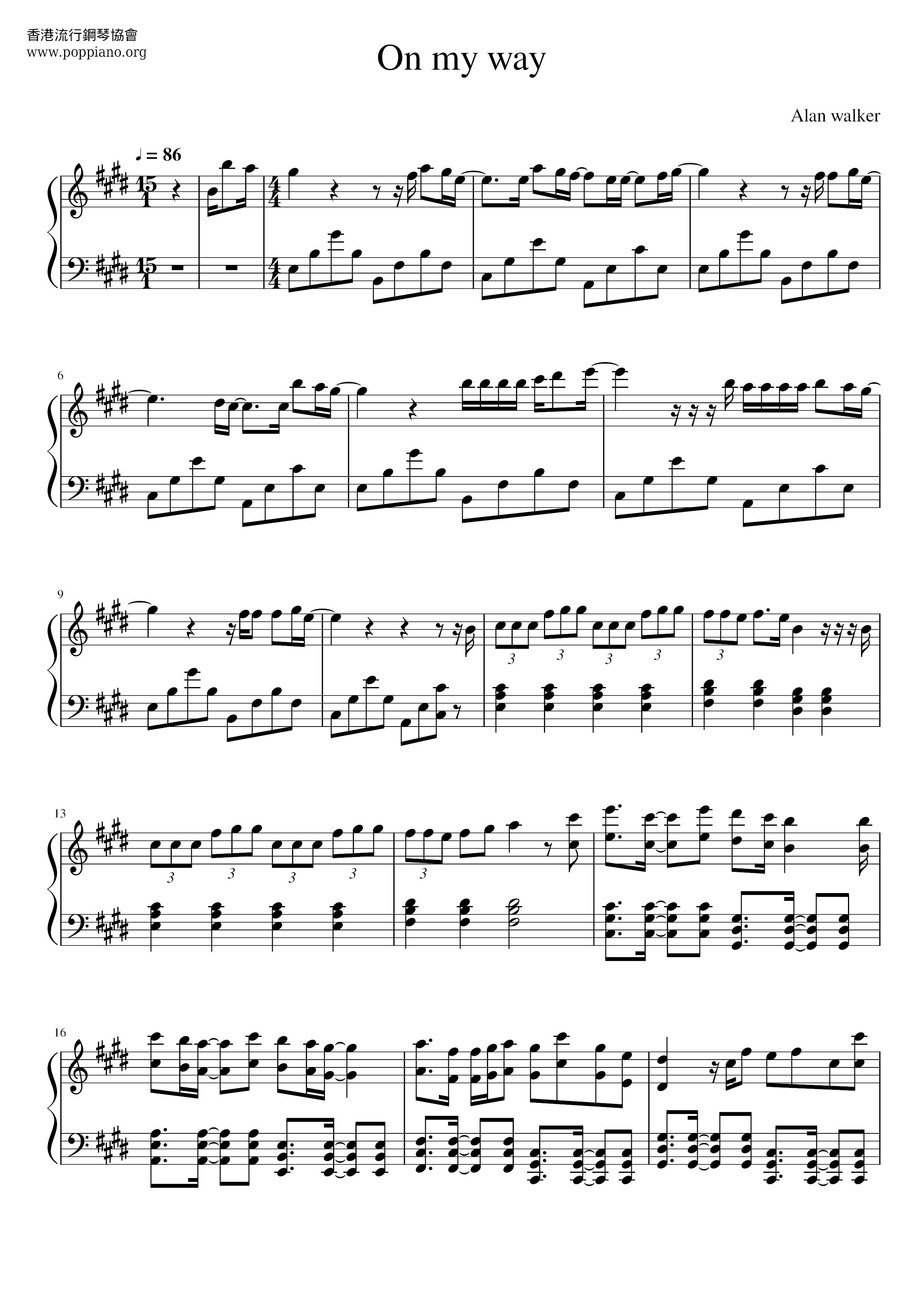 Alan Walker-On My Way Sheet Music pdf, (アラン・ウォーカー) - Free ...