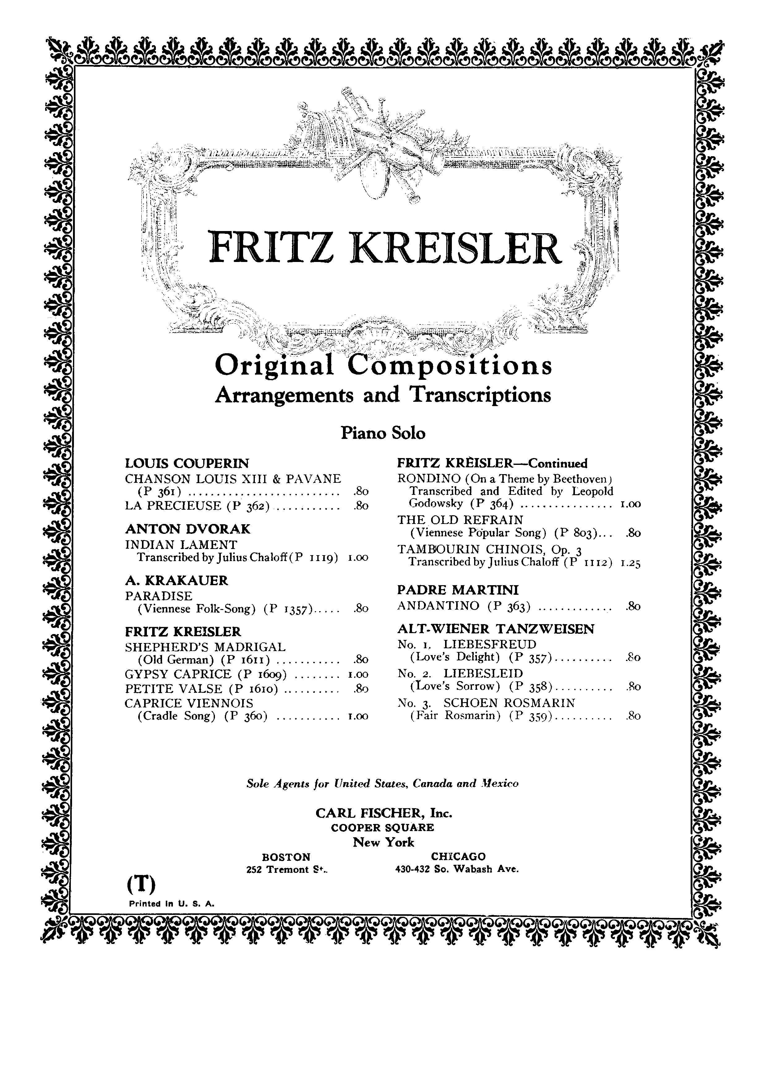 Fritz Kreisler 愛之悲 Liebesleid Sheet Music Pdf Free Score Download