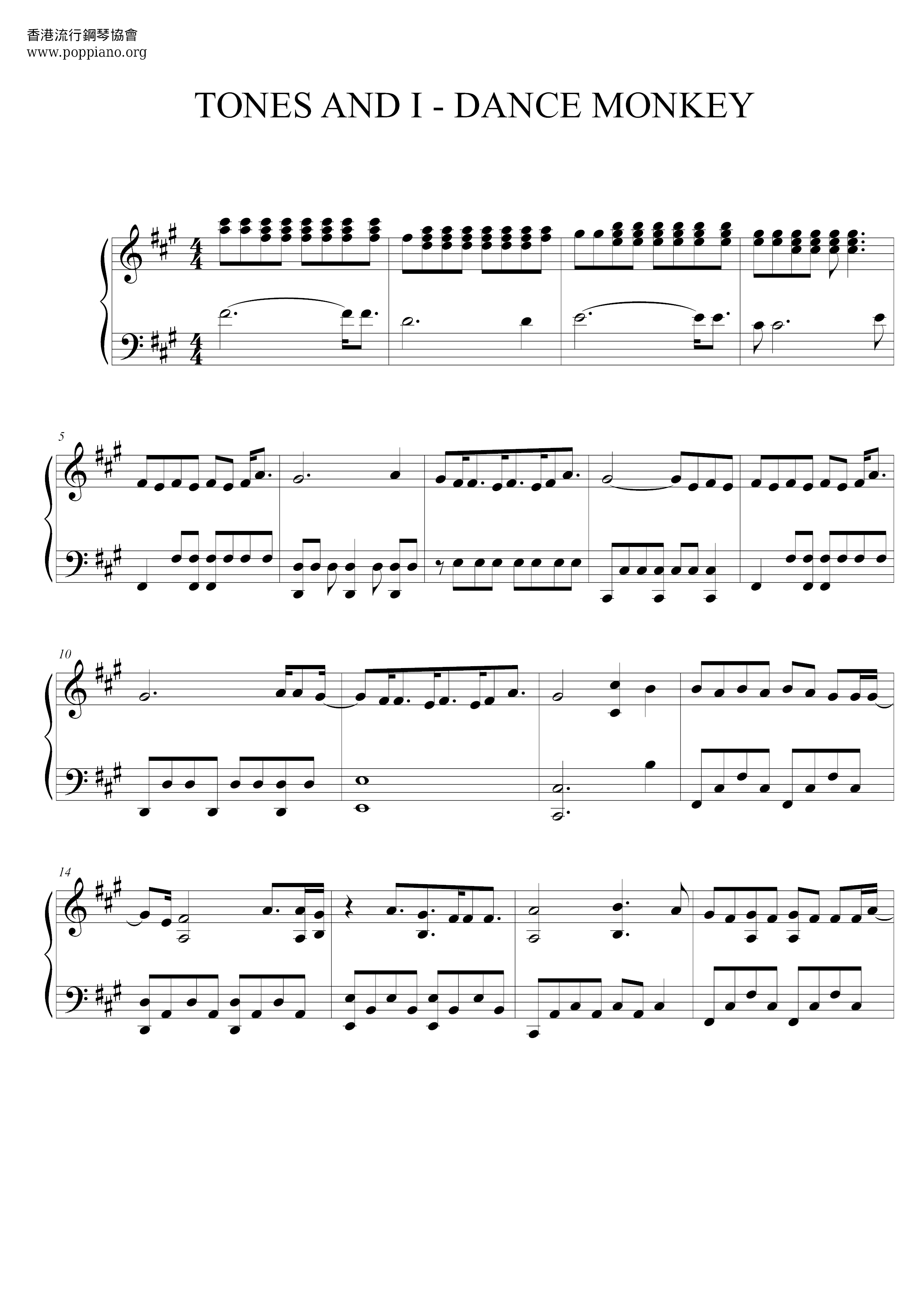Tones And I Dance Monkey Sheet Music Pdf Free Score Download
