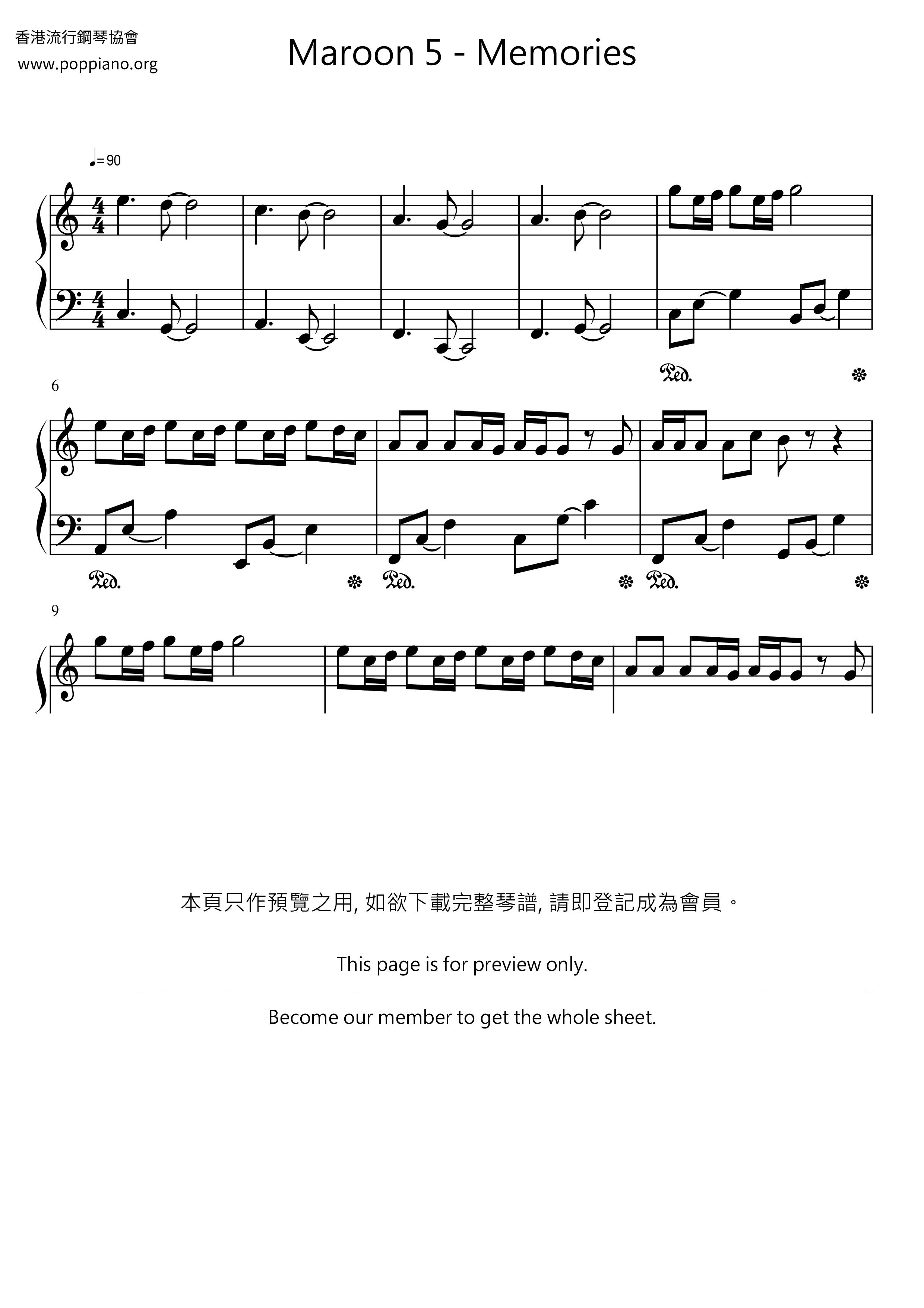 Memories Sheet Music Piano Score Free Pdf Download Hk Pop Piano Academy