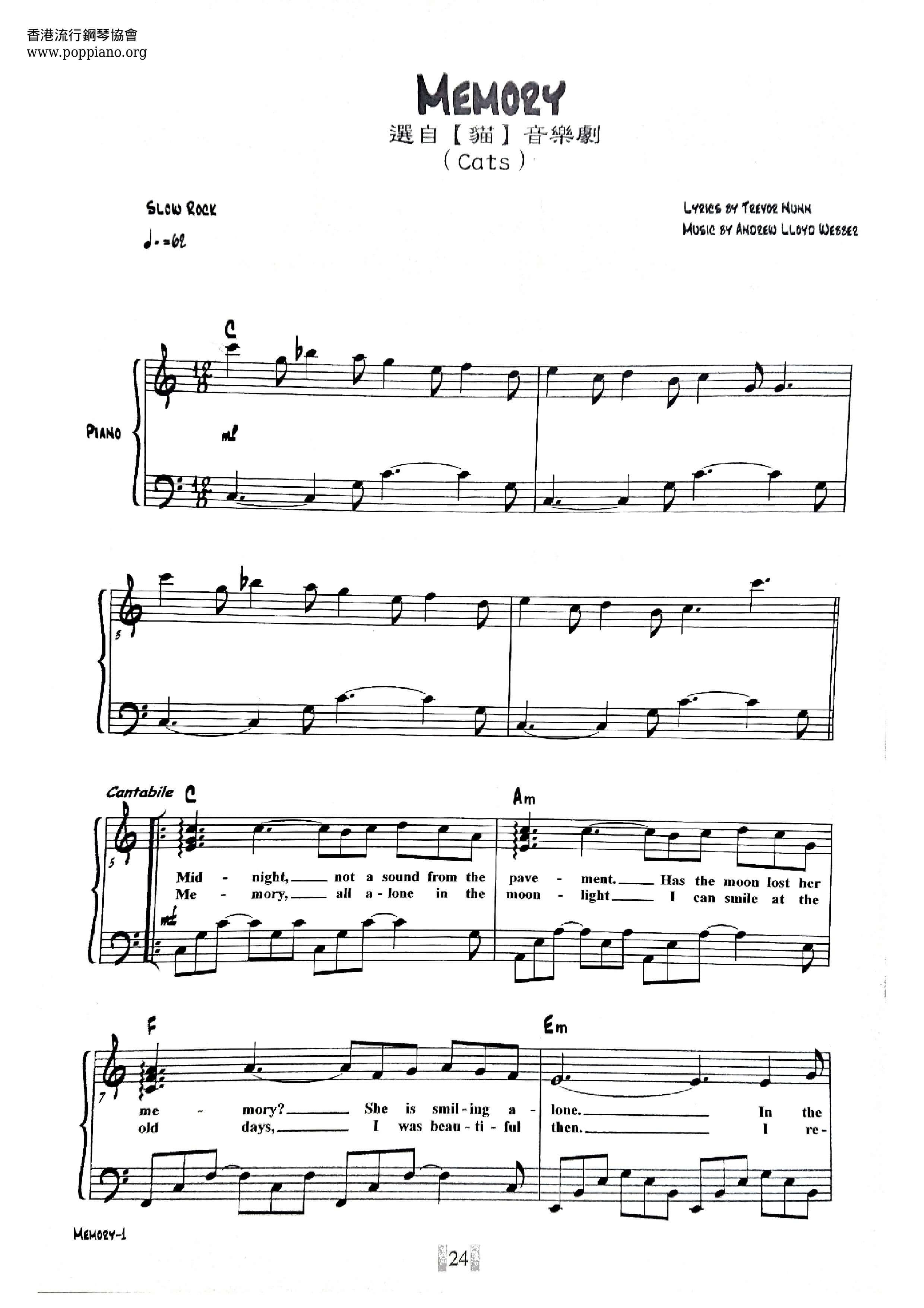 Andrew Lloyd Webber Memory From Cats Sheet Music Pdf Free Score Download