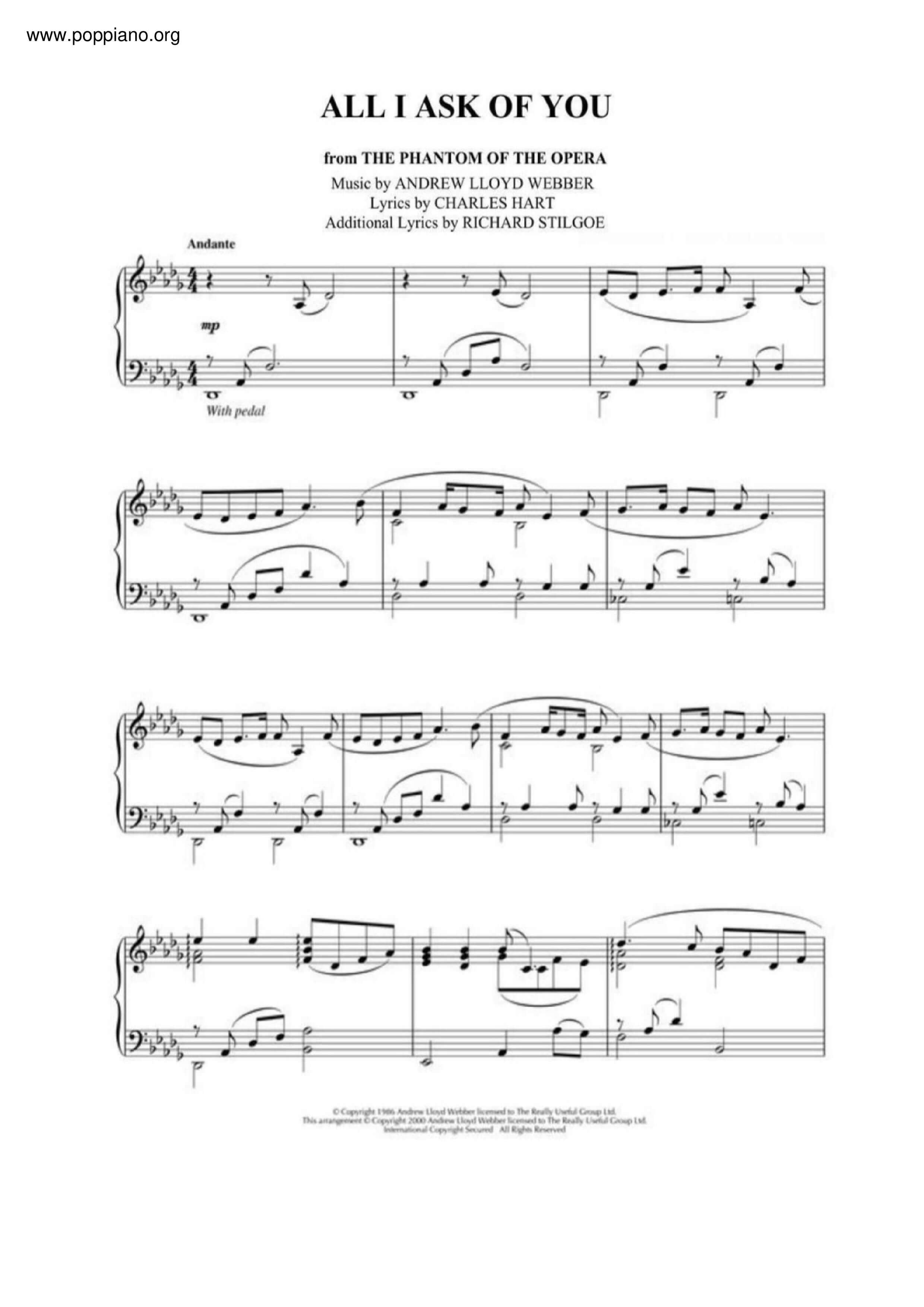 all i ask of you sheet music free pdf