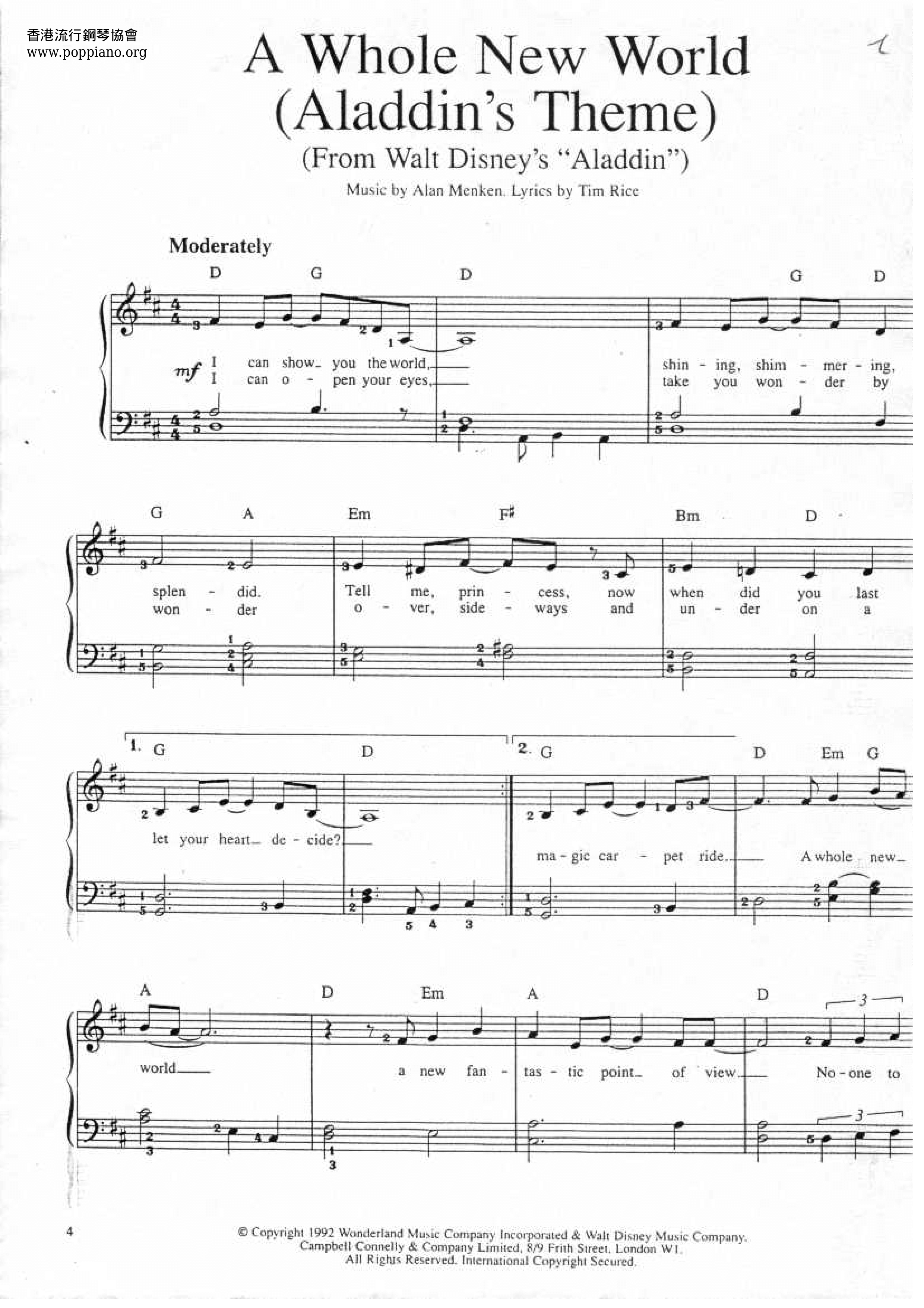 a whole new world sheet music free download