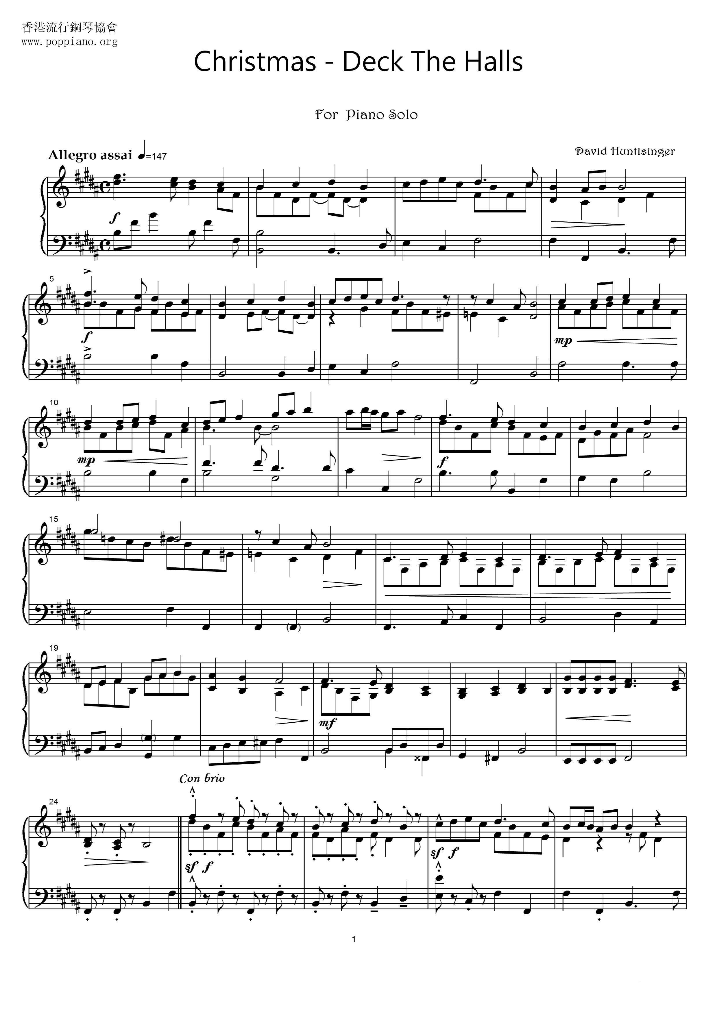 Christmas-Deck The Halls Sheet Music pdf, - Free Score Download ★