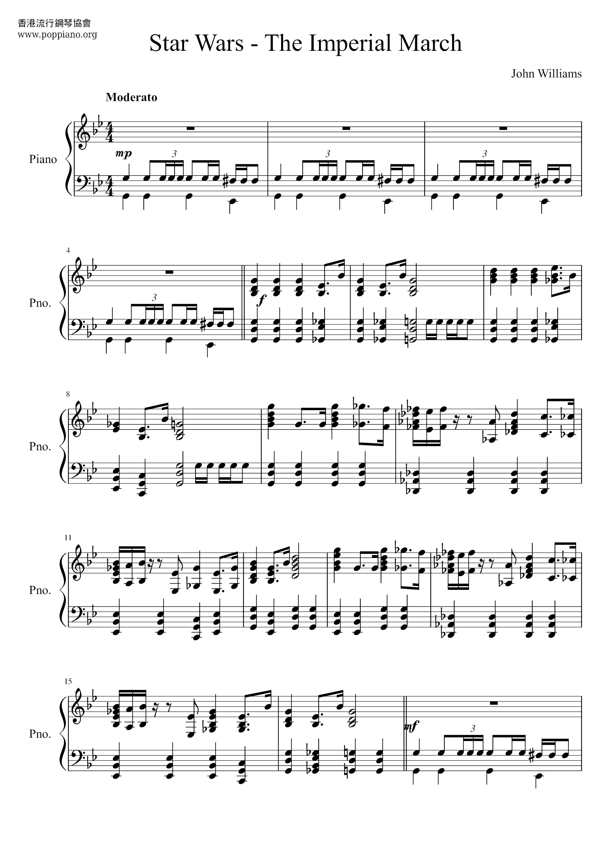 Star Wars The Imperial Marchall Versions Sheet Music Piano Score Free Pdf Download Hk Pop Piano Academy