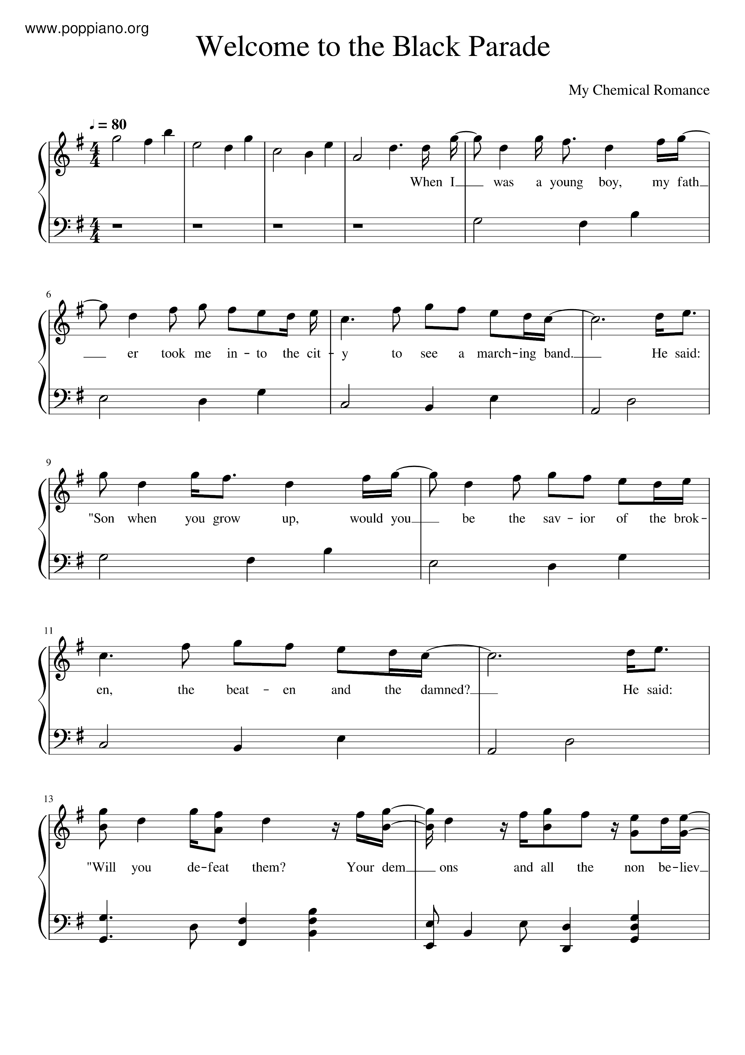 ☆ my chemical romance-welcome to the black parade sheet music pdf, - free  score download ☆  www.poppiano.org