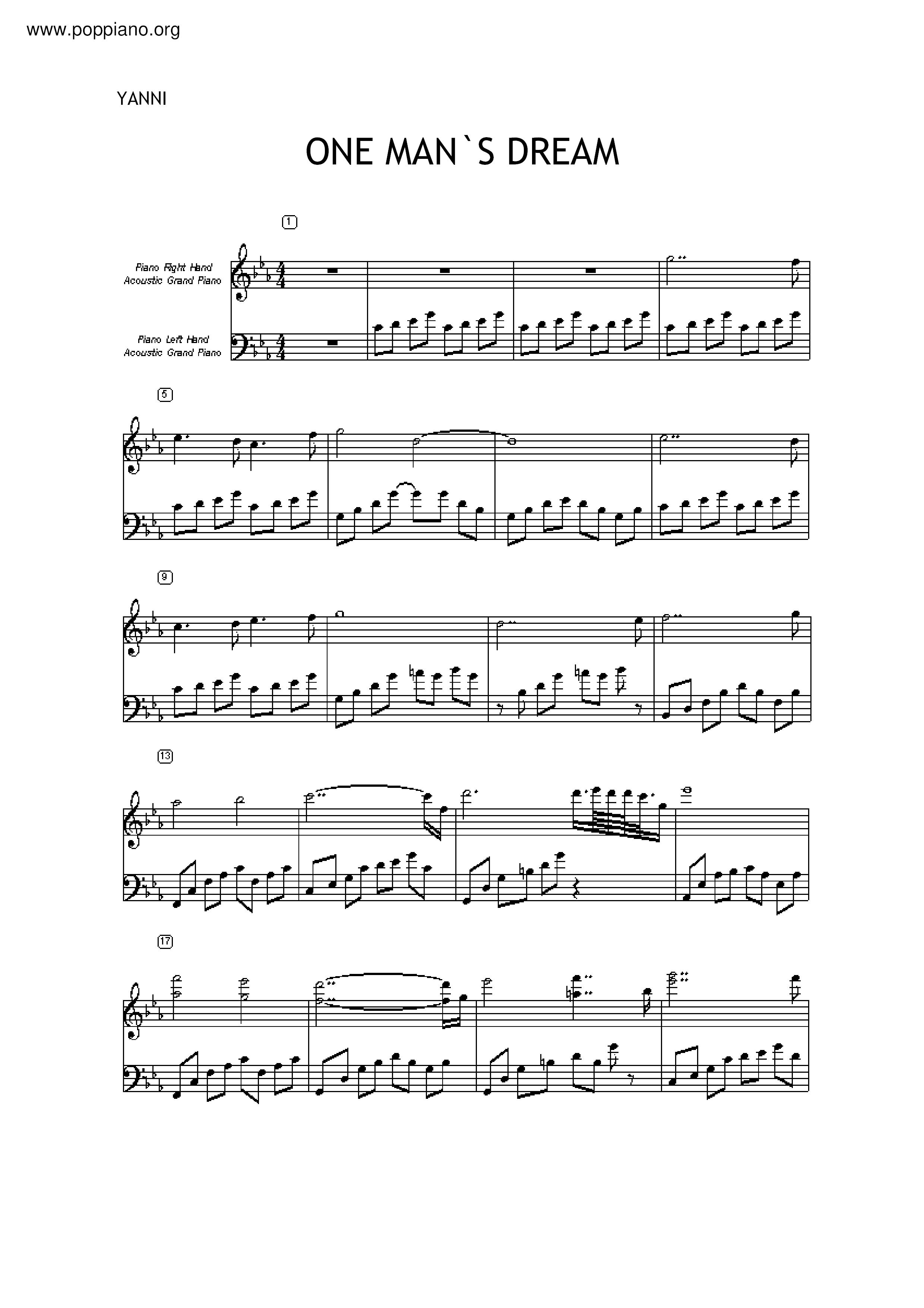 ☆ yanni-one man's dream sheet music pdf, - free score download ☆  www.poppiano.org