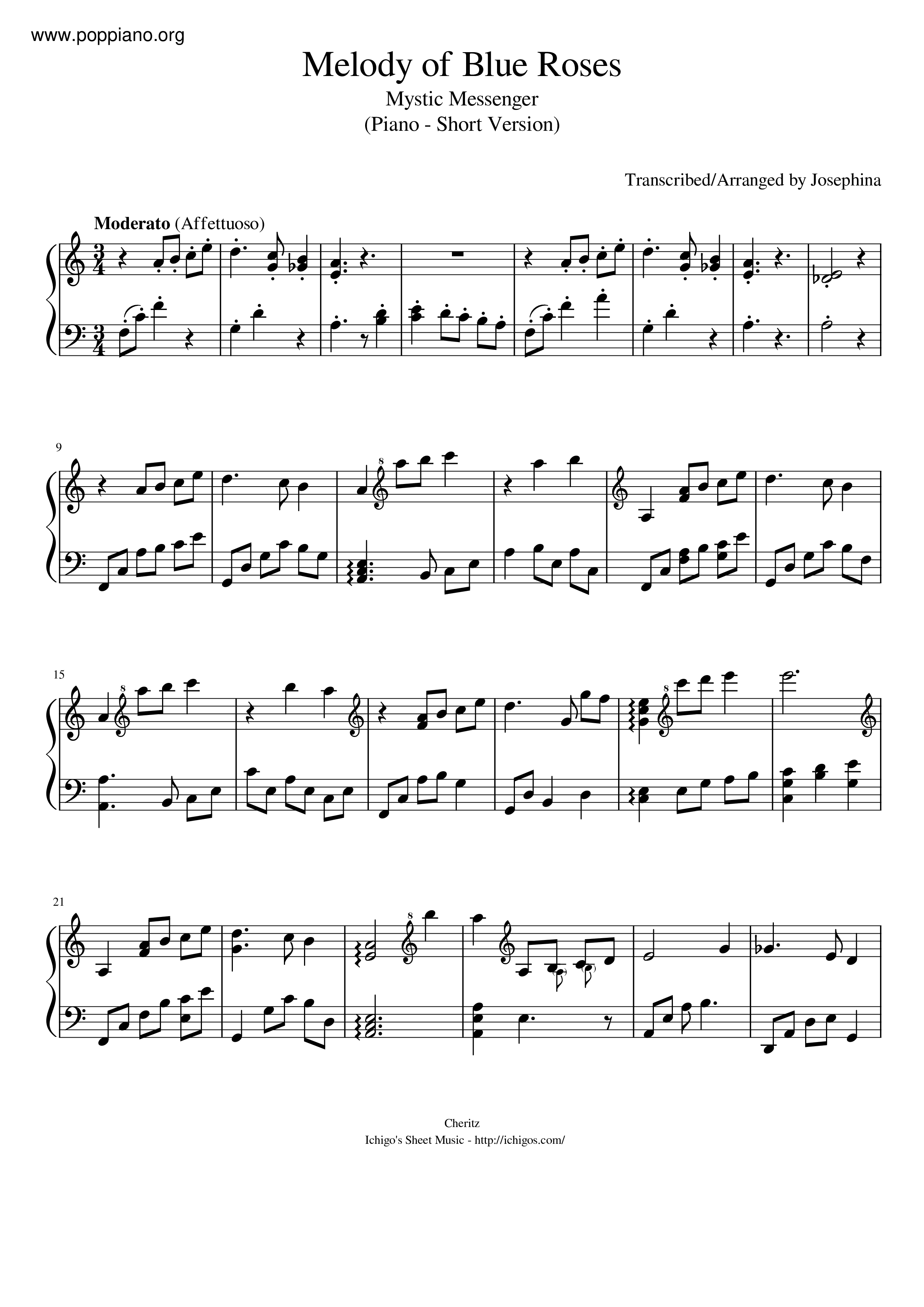 ☆ mystic messenger-melody of blue roses sheet music pdf, - free score  download ☆  www.poppiano.org